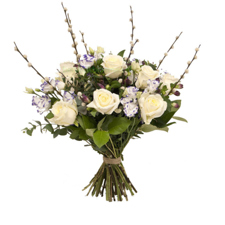 Boeket Purple Lady bos witte rozen veldboeket bestellen Leiden